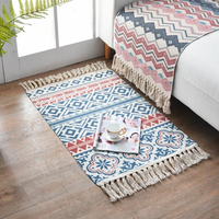 Flower Print Cotton and Linen Woven Tassel Design Tapestry Decoration Carpet Bohemian Door Mat for Bedroom