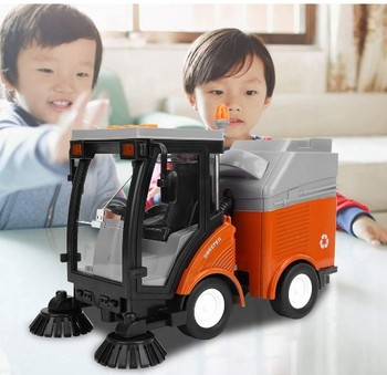 children 1:16  friction sweeper whth light and music Friction Power Garbage Truck Model for Children