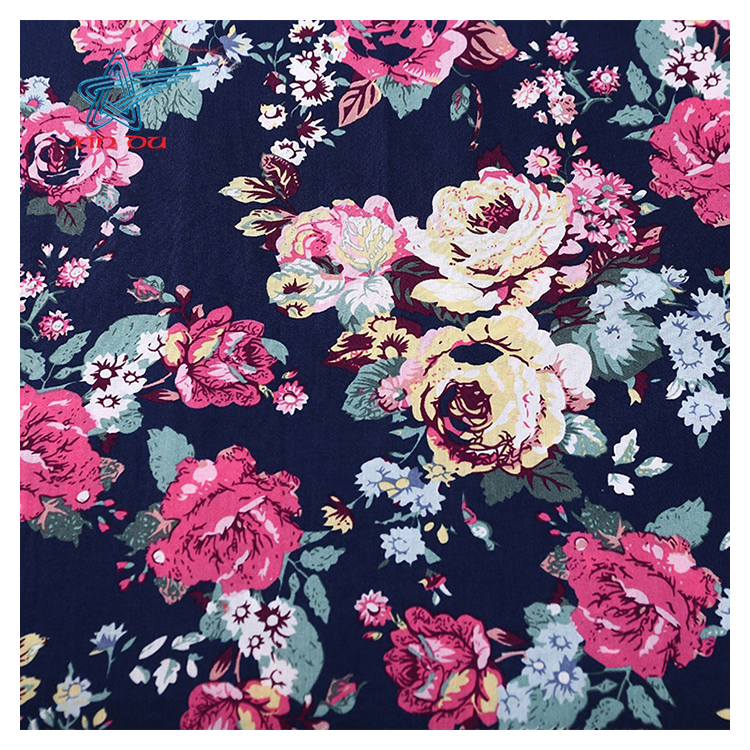 Navy Small Flowers Floral Printed 100/% Cotton Poplin Fabric.