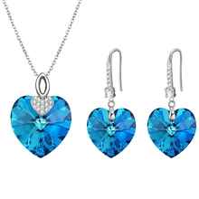 xuping trendy delicate luxury elegant bermuda blue love heart women jewelry set, crystals from Swarovski