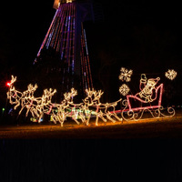 Outdoor skyline LED Christmas lights hanging lighted Santa reindeer for winter holiday lawn displays