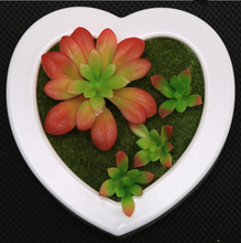 Household Ornament Plastic Heart Shape Photo Frame Artificial Plants Fake Flowers Floral <strong>Wall</strong> Hanging for Home Decoration