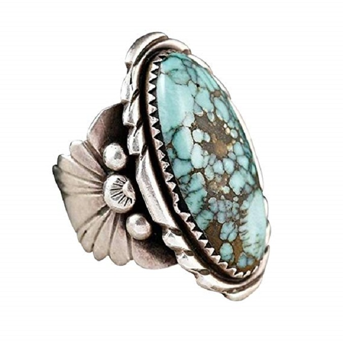 3 Carat Natural Turquoise Sterling Silver Simple Ring For Women Size 5,6,7,8,9,10,<strong>11</strong>,12,13