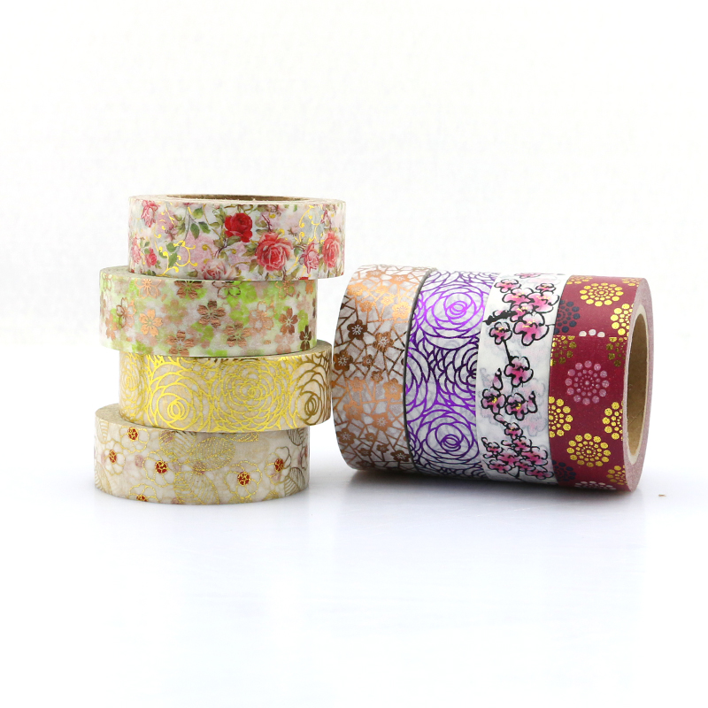 Custom Printed Floral Gold Foil Japanese Washi Tape Wholesale