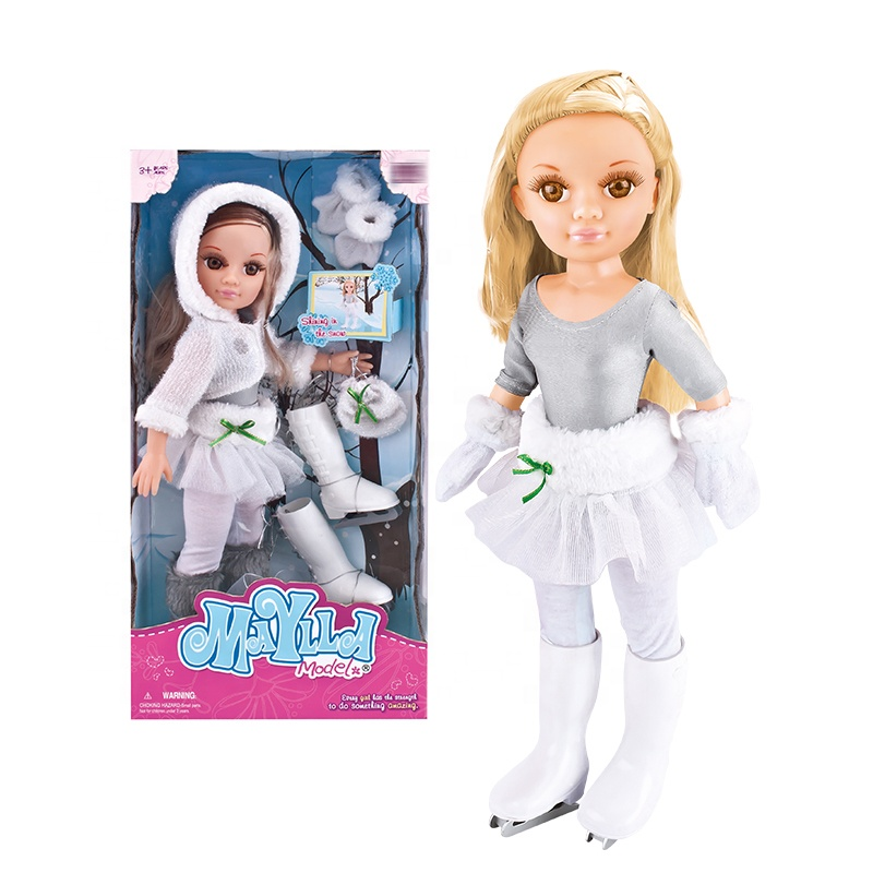 17 inch winter beautiful girl children <strong>dolls</strong> with ski shoes