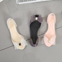 New Style fancy women's point toe pvc jelly shoes Transparent Bowknot Candy Sandals Wholesale