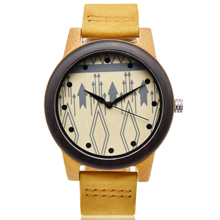 New model manufacture men customized quartz engraved bamboo wood watch