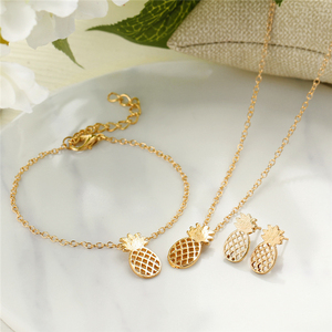 Stainless steel gold color necklace earring bracelet set cute pineapple jewelry set