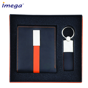 Wholesale promotional items business gift set with pu leather/genuine leather credit card holder,pen and key chain/keychain