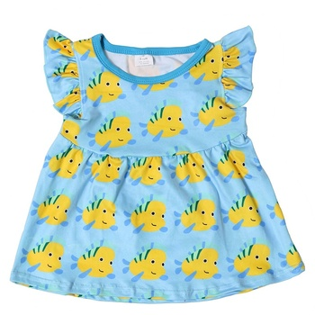 Summer boutique flutter sleeve kids children clothes baby gilr clothes