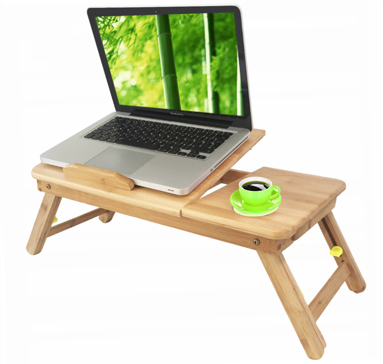 Bamboo wooden computer desk/ portable foldable laptop table with cup holder cooler fan drawer