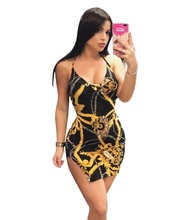 LTS3005 Fashion sexy Condole belt backless <strong>chain</strong> printed dress with slit at bottom LTS3005