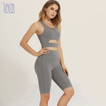 Heather Grey spandex short sets women two piece gym shorts and bra workout fitness & yoga gym clothing Apparel With custom logo