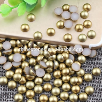 S0913 3mm matte gold color half round pearls,wholesaler shop matt gold glue on half round pearls