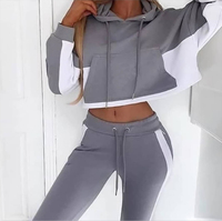 Womens 2 Piece Outfit Autumn Spring Custom Hoodies Tops Drawstring Crop Hoodie Sweatshirts Fitness Gym Sport Jacket Zipper Set