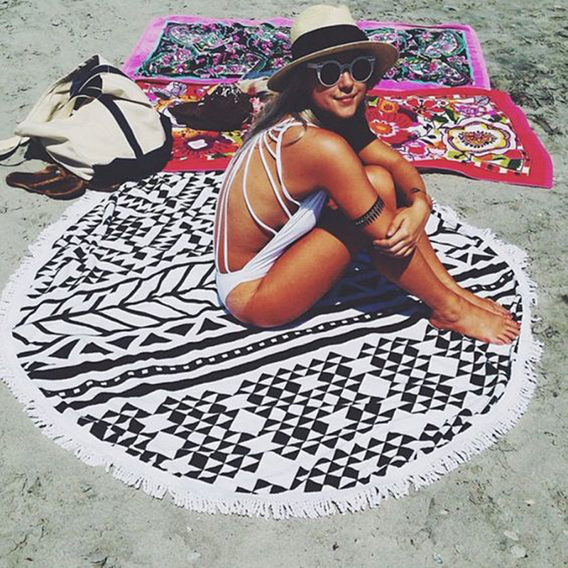 2019 Newest Style Fashion Flamingo organic cotton Round beach towel With Tassels Microfiber Picnic Blanket Beach Cover Up