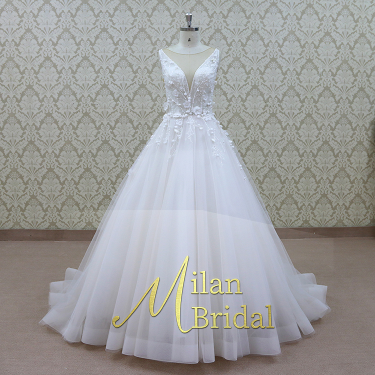 2019 V Shape Neckline Modest Modest Wedding Dress Bridal Gown