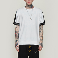 Wholesale Summer Street Contrast Stitching t-shirts Casual Crew Neck Color Combinations t shirt Hip Hop Private Label t shirt