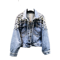 Cutstomed high quality jackets women clothing light blue denim jackets for girls