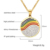 18k gold jewelry stainless steel rainbow tennis necklace with clear crystal