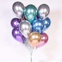 Wholesale <strong>12</strong> Inch Birthday Wedding Decorations Party Chrome Shiny Metallic Latex Balloons
