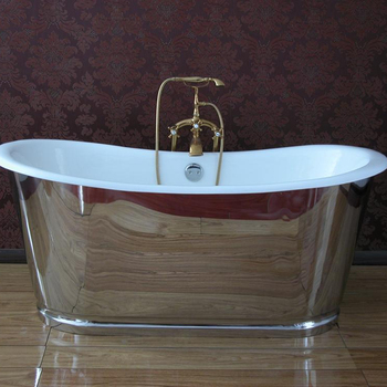 UAS hot sale Cast Iron Bathtub with stainless Steel Skirt
