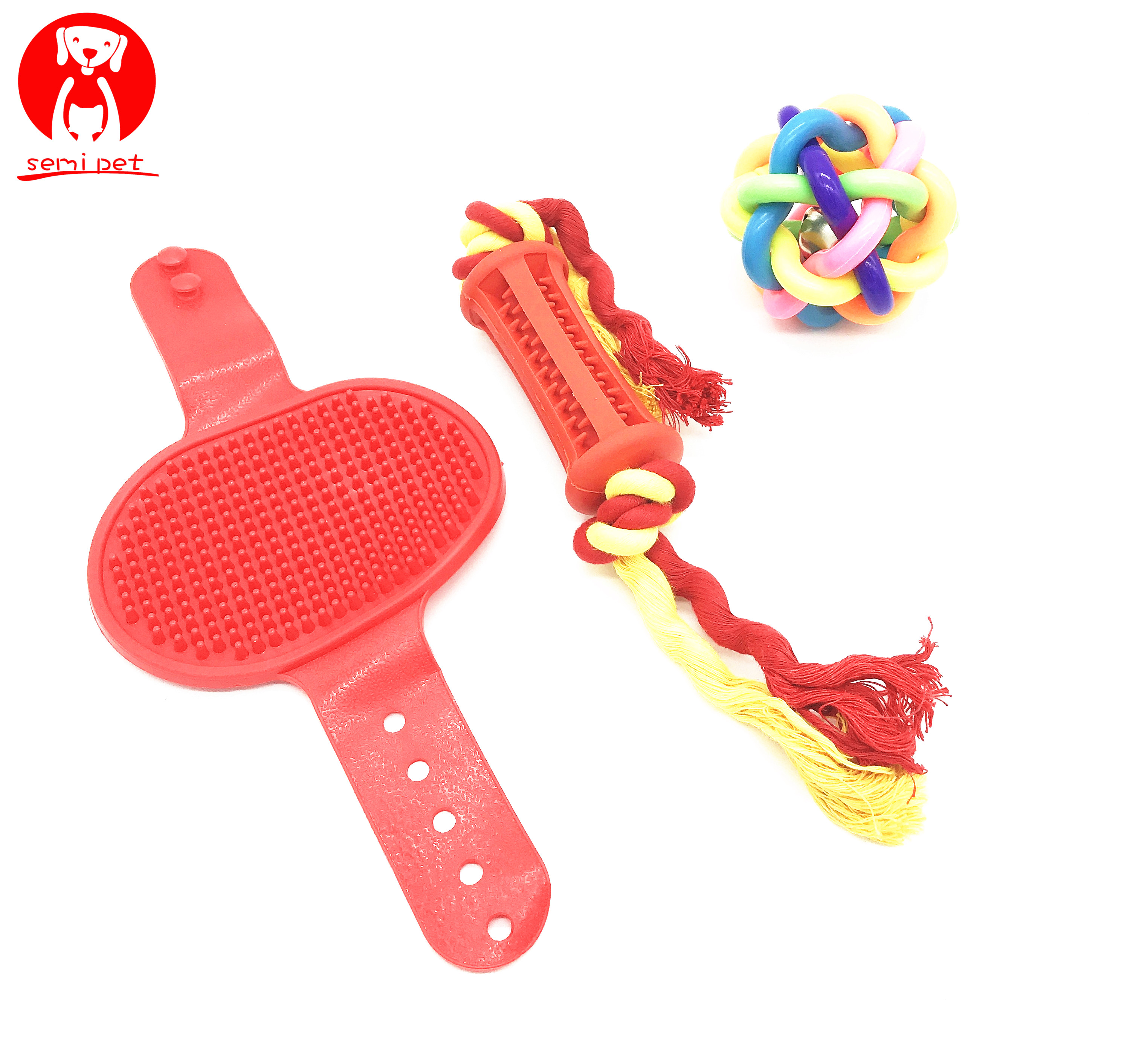 Dental Stick with Cotton Rope&Pet Ball with Bell&Pet Brush as Bundle