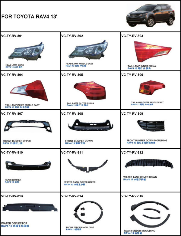 For Toyota Rav4 2013 Rear Bumper 60143427877 on car light diagram