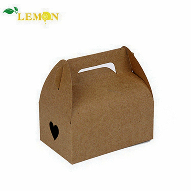 Custom Private Design Eco Brown Kraft Card Carry Boxes Fast Food Paper Gable Gift Box