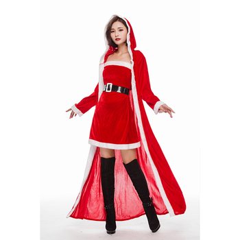 Red lady santa dress sexy cosplay party costume christmas dress