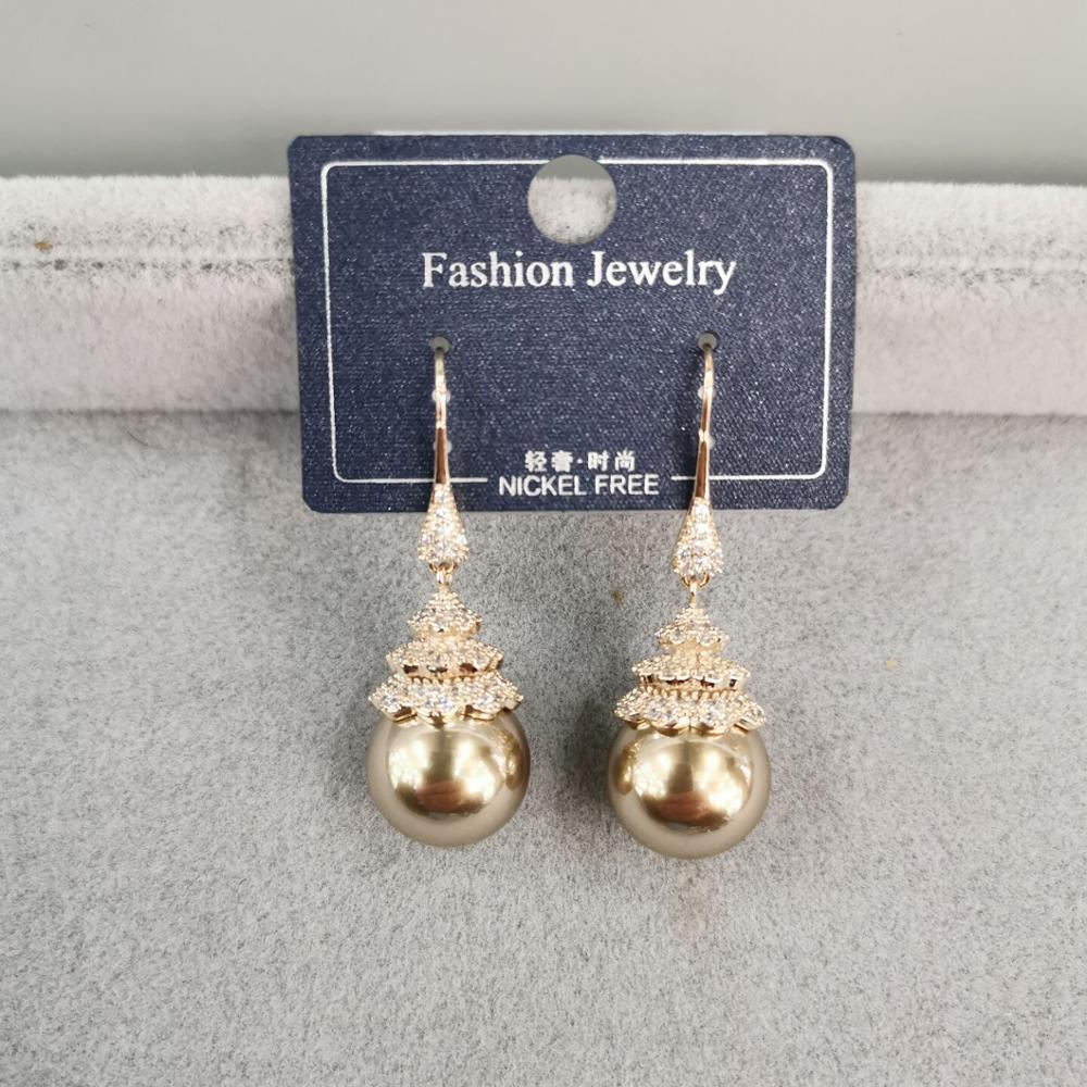 Every day wear fashion style Cubic zirconia pearl <strong>earring</strong>