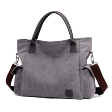 Women's Canvas Handbags High Quality Female Hobos Single Shoulder Bags Vintage Solid Multi-pocket Ladies <strong>Totes</strong>