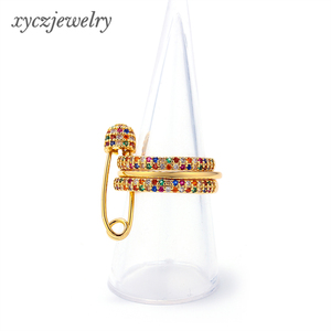 Wholesale jewelry gold plated elegant stackable women safety pin zircon ring