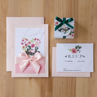 Simple 12*18cm pink wedding invitation with rsvp card