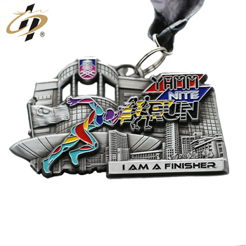 Best quality custom sliver metal sports Marathon running race finisher medals ribbon