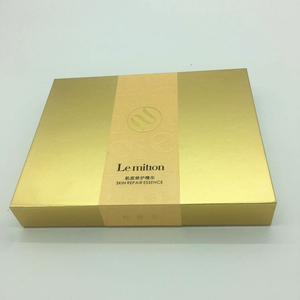 Custom gold Mask cosmetics box punching wine essential oilblack packaging gift box wholesale Christmas promotion Folding gift