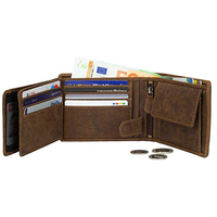 Vintage Front Pocket Minimalist Card Holder Coin Purse RFID Leather Trifold Wallet For Men