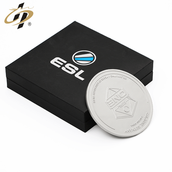 New design top quality  custom stamp 3D silver  souvenir coins for Elegant gift box packaging