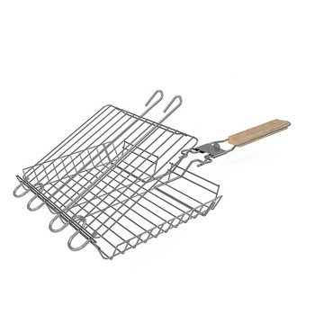 Stainless Steel Non Stick Folding BBQ Portable Grilling Basket set