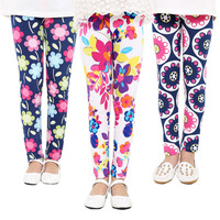 Haobaby Wholesale New Design Children Kids Girl Floral Cotton Sport Leggings