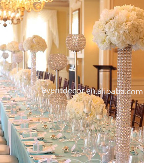 Beautiful wedding table centerpiece for decoration tall