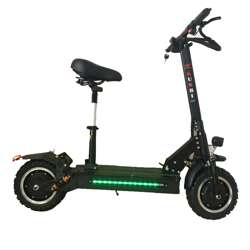 11inch 60v 1200w powerful motor double drive with seat adult fastest folding portable <strong>electric</strong> skateboard scooter