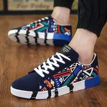 2019 Spring and Summer New Fashion Personality Printed Breathable Casual Canvas Skate <strong>Shoes</strong>