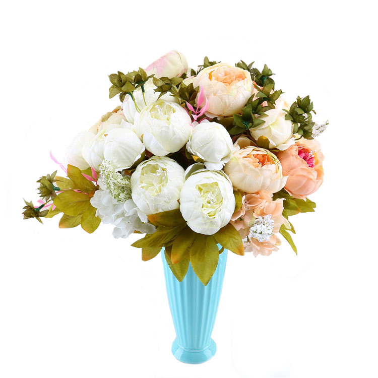 Fashion artificial christmas western rose peony silk flower bundles white