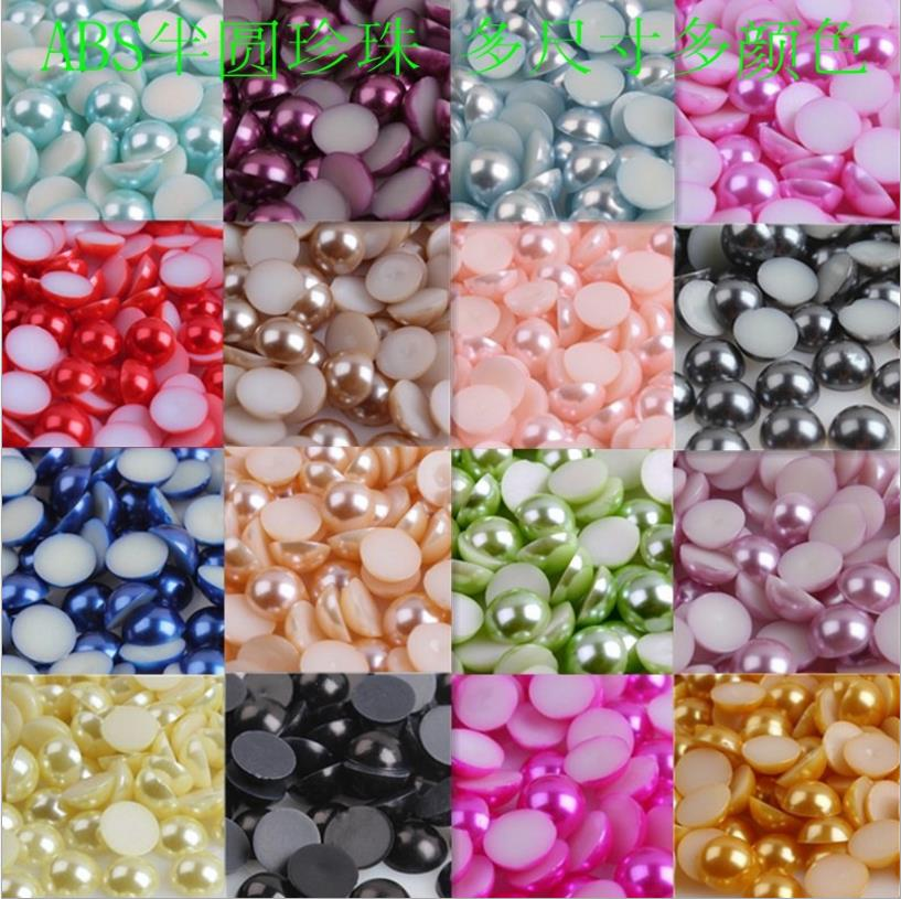 S0731 2mm-25mm full colors loose ABS half cut pearls , colorful flatback pearls for clothing