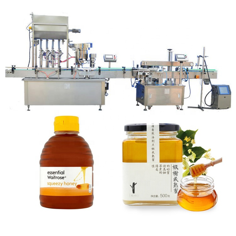 JB-NJ4 automatic 4 filling <strong>nozzles</strong> mixed honey and <strong>fruit</strong> jam jars filling machine