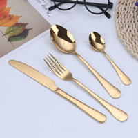 Gold Flatware Cutlery Set Gold Plating Stainless steel cutlery long handle spoon Steak knife Fruit fork