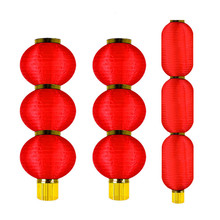 Wholesale chinese making home party festival decoration round folding paper red lantern lamp string