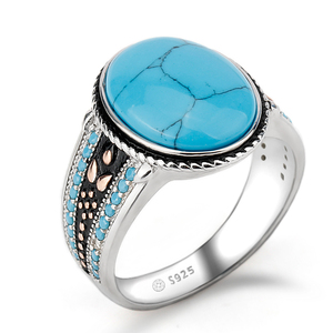 925 Man Turkish Big Turquoise Stone Wedding Engagement Jewelry 925 Sterling Silver Ring