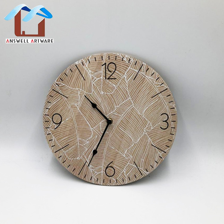 Antique Home Decoration Simple Vintage Watch Round Wooden Wall Clock